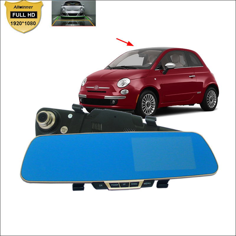 BigBigRoad For fiat 500 punto stilo bravo /Car DVR Blue Screen front carmera Rearview Mirror Video Recorder parking DVR nillkin protective pu leather pc case cover for sony xperia z1 compact m51w black