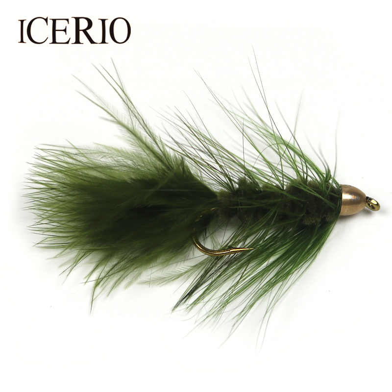 ICERIO 4PCS 4# Brass Cone Head Woolly Bugger/Streamer Flies Trout Fly Fishing Lures mnft 4pcs copper cone head grizzly tube fly orange