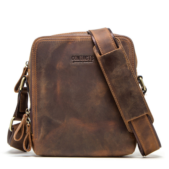 "2019 new genuine leather men's messenger bag vintage shoulder bags for 7.9"" Ipad mini high quality male crossbody bag"