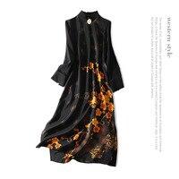 Свободные винтажные с цветочным принтом 100% шелковое платье новый 2018 платье на весну и лето черные женские бренд взлетно посадочной полосы д