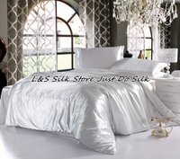 Silk Bedding Set 4pcs Luxurious Silk Solid Color White King Queen Full Twin 100% Mulberry Silk Dyed Fabric ls2126