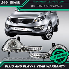 El envío gratuito! 12 V 6000 k LED DRL luz Corriente Diurna para Kia Sportage 2010-2012 niebla marco de la lámpara luz de Niebla Car styling
