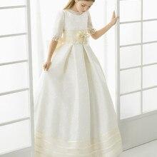 Красивые атласные платья в пол с бантом и цветочным узором для девочек; Детские нарядные платья; платья для первого причастия для девочек; vestidos De Comunion
