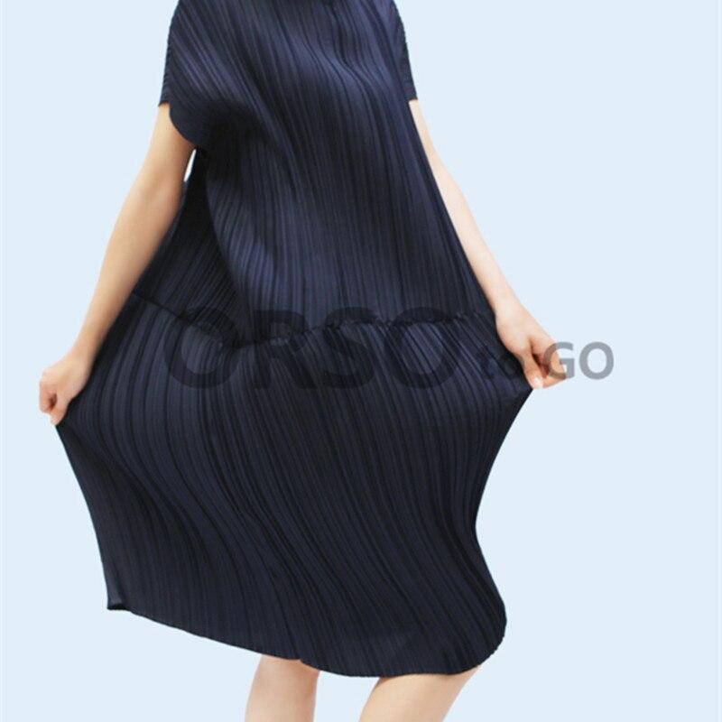 Azterumi Issey Miyake Printemps Été Nouveau 2019 Femmes grande taille décontracté robe ample Femmes Chauve-Souris Manches Robes Bleu Kaki