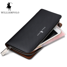 HOT!!! WILLIAMPOLO 2017 Original Brand 100% Leather Wallet Men Famous Long Knitting Pattern Wallet Men Luxury Brand Wallets #118