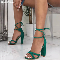 Summer Women Ankle Strap sandals Bandage Gladiator Sandals High Heels Ladies Lace up Pumps Square Heel Black Green Block Shoes
