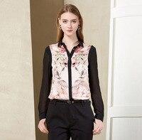 100% Silk Shirt Organic Fabric New Fashion Women Silk Shirt Free Shipping Floral Pattern S 4XL Plus Size Option