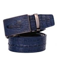 2015 Fashion croco automatic buckle leather belts for men vintage mens belts luxury Brand Automatic Belt men