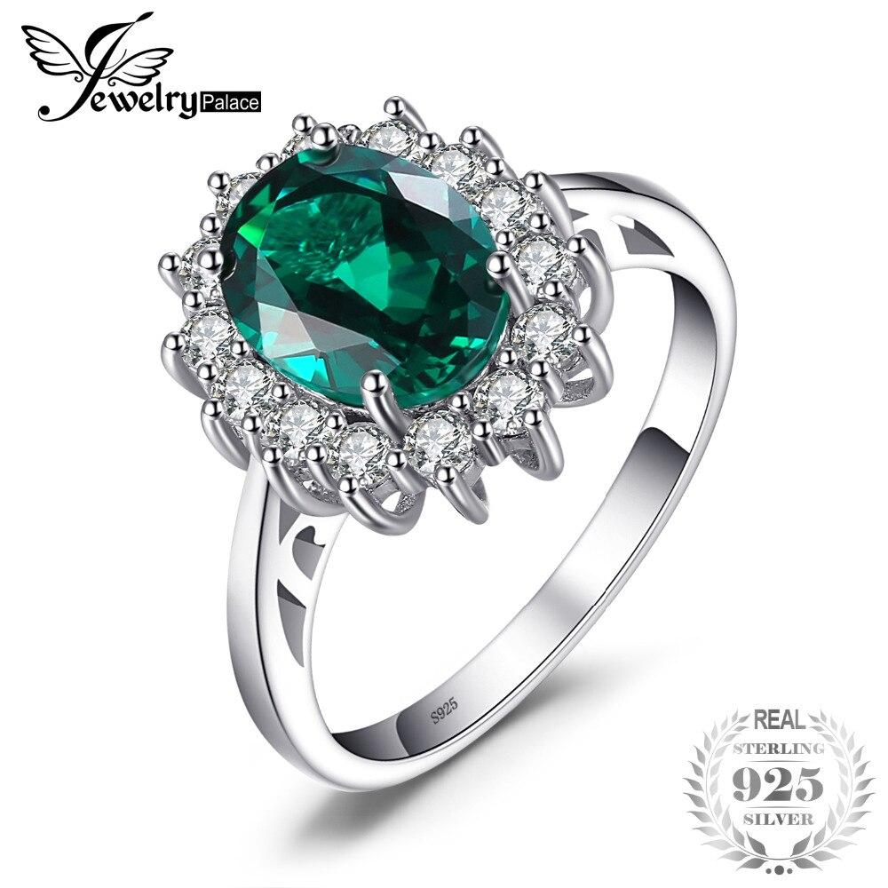 JewelryPalace Prinzessin Diana William Kate Middleton der 2.5ct Erstellt Smaragd Ring Solide 925 Sterling Silber Ring Für Frauen Geschenk