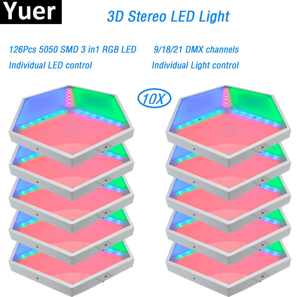 10PcsLot 3D vision stage effect light led 3D panels ADJ light 35W SMD 3in1 RGB led lamp for disco light dj party wedding dmx512