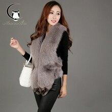 2016 Genuine Vest Women Natural Real Fox Fur Vest Women Winter Female Vest Real Fur Coat Jacket Retail Wholesale Big Size