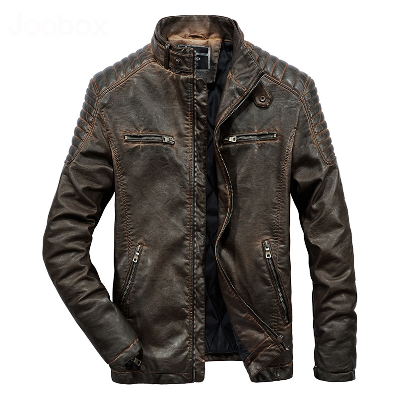 2018 Autumn New Stand Collar Plus Size Kunstleder Coat Thick Motorcycle Vintage Brown Leather Jacket Men