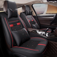 KKYSYELVA Universal Leather Car Seat Cover Set Car Interior Accessories Auto Seat Cushion Covers carnong car seat cover leather pu universal waterproof cushion black interior accessory for car auto front rear seat covers set