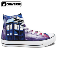 Hand Painted Shoes Men Women Converse All Star Police Box Galaxy High Top Canvas Sneakers Woman Man