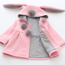 Children Bunny Jacket Spring Infant Newborn Baby Girl Coats Rabbit Outwear Toddler Cute Kids Hood Clothing Jacket For Girls