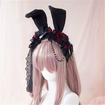 Takerlama Princess Sweet Lolita Rose Hair Rabbit Ear Headband Japanese Harajuku Headwear Gothic Lace Yarn Hair Cosplay Accessory 1