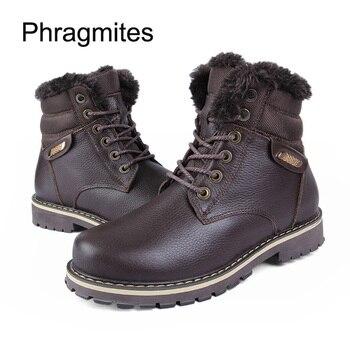 Phragmites Thicken Fur Snow Boots Metal Cow Leather Outdoor Shoes Hot Sale Snow Mens Shoes Father Warm Bottes Femme 2019 Nouvea