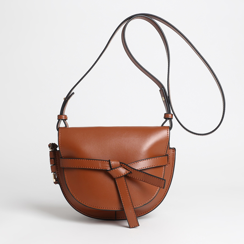 Luxury Brand Gate Bag Women Genuine Leather Bowknot Saddle Bags Contrast Color Female Retro Shoulder Crossbody Bags genuine leather retro saddle bag 100