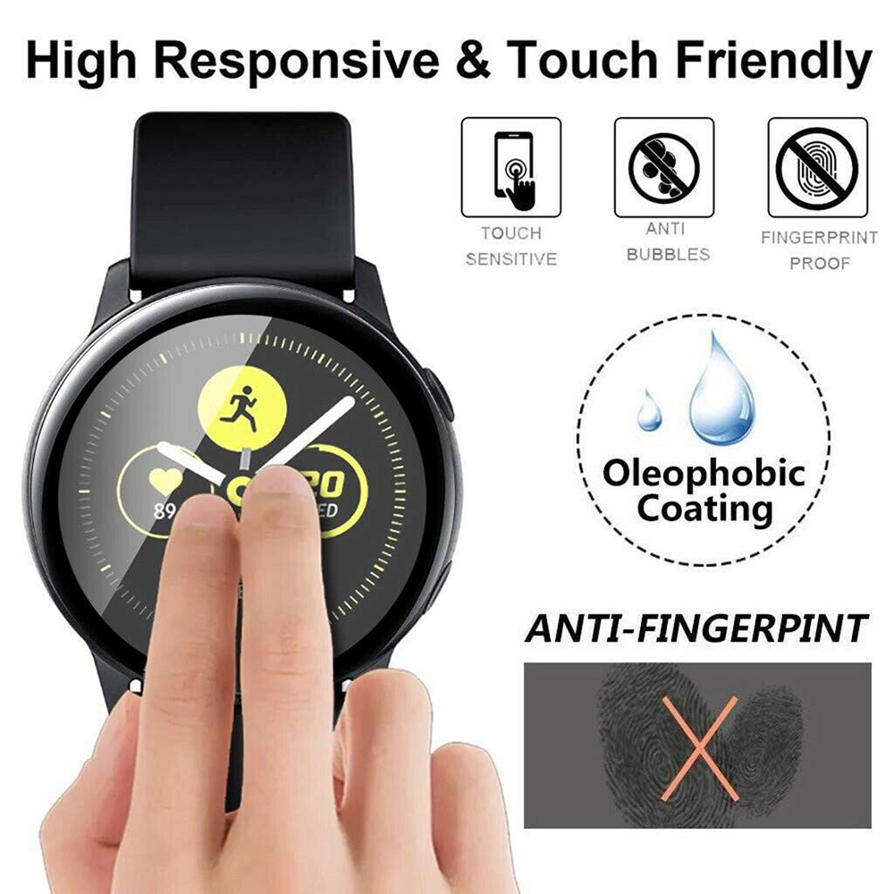 Tempered Glass Protector Film For Samsung Galaxy Watch Active 3D Full Screen Protective Film Ultra-thin Soft Fibre Glass Films