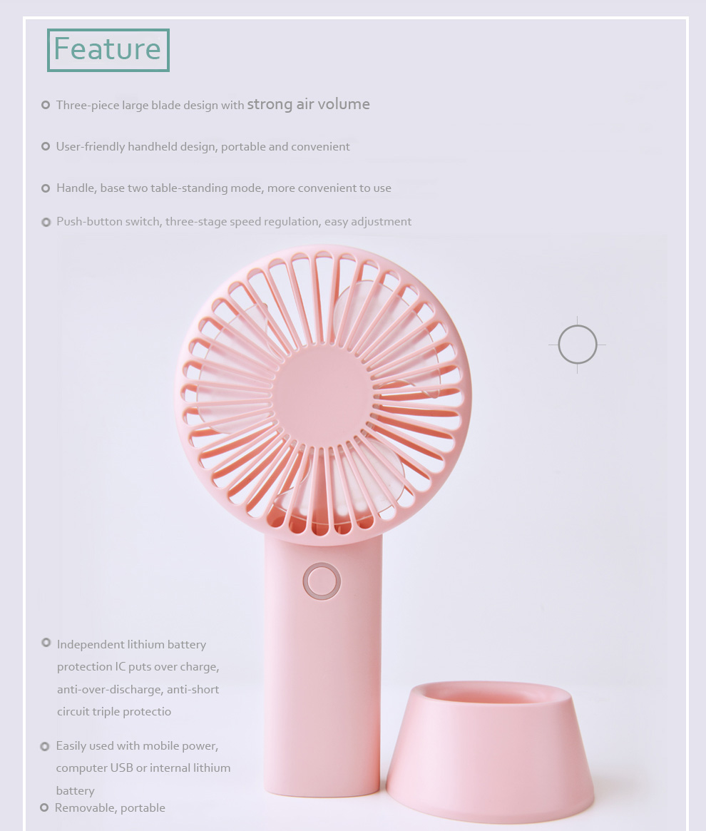 4000mah Powerful Battery Electric Fans Cooling Handheld Mini Table Fan Circuit 1 2 3