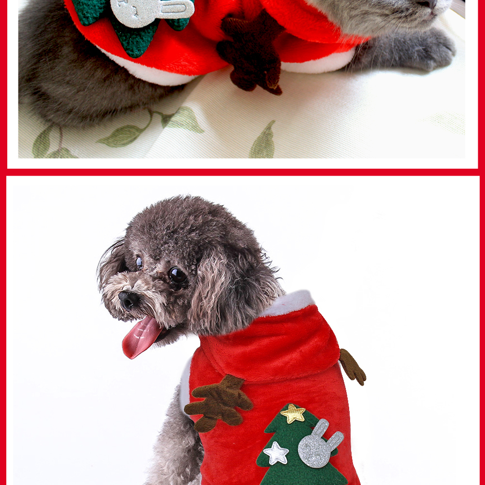 Warm Dog Jacket in Santa Claus Pattern with Hoodie and Warm Cuffs for Small Dogs 16