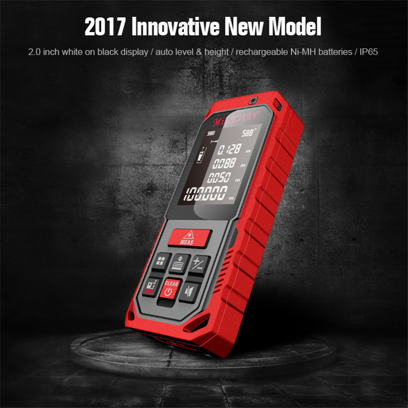 Rechargeable Laser Rangefinder Handheld Digital 2'' Screen Distance Meter 40M Red Laser Measure Angle Tools Area/ Volume Memory kaman mk 60 1 8 lcd handheld laser distance meter rangefinder black red multi colored