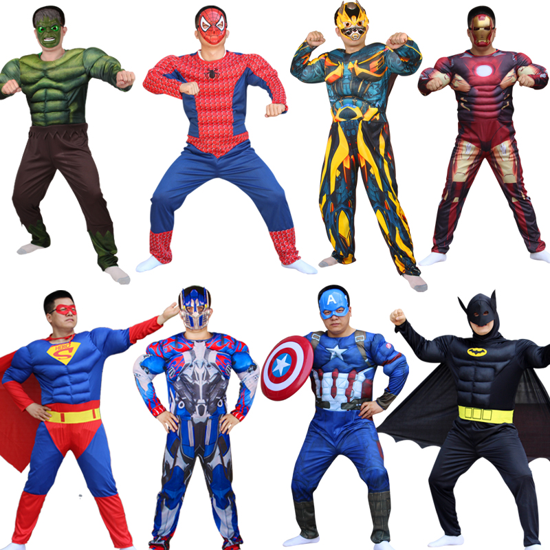 Superhero Batman Captain America Hulk With Mask Holiday Party Cosplay Costumes Adults Men Women Batman Halloween dress up