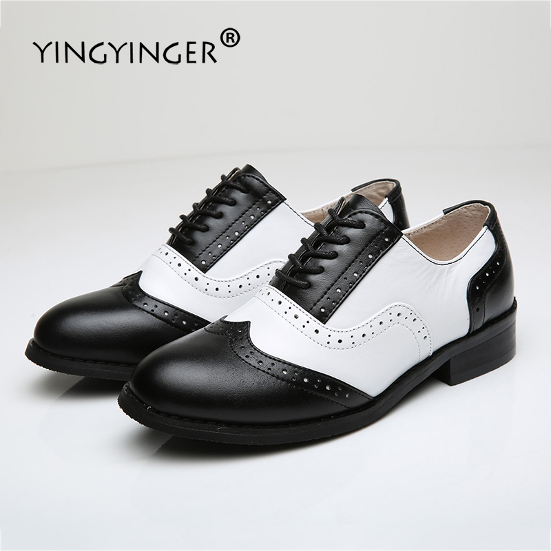 Flats Oxford Shoes For Woman Genuine Leather Custom Made Lace Up Black Brogue Shoes For Women Chaussures Femme Scarpe Donna brogue boots women summer genuine leather black ankle med heels lace up oxford shoes botas feminina chaussure femme talon