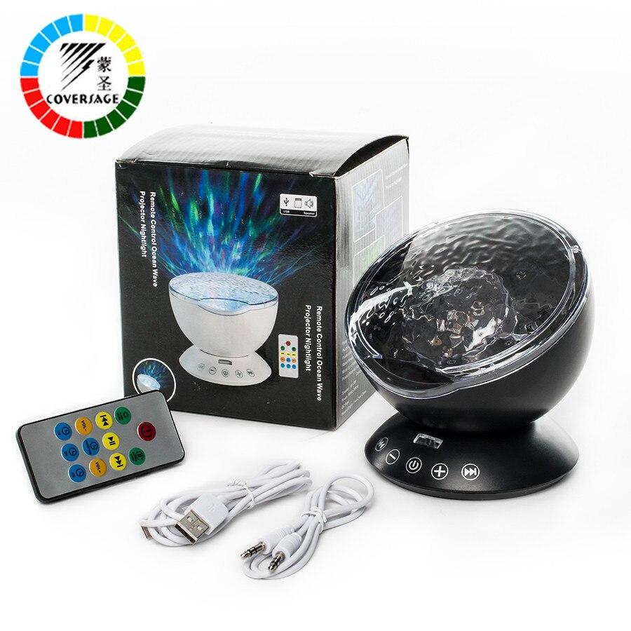 Coversage Ozean Welle Projektor Fernbedienung TF Karten Musik Player Lautsprecher LED Nachtlicht Aurora Master Projektion Kinder USB