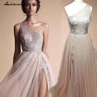 Robe De Soiree Champagne High Split Evening Gowns A Line Evening Dresses One Shoulder Sequined Shiny Evening Gowns