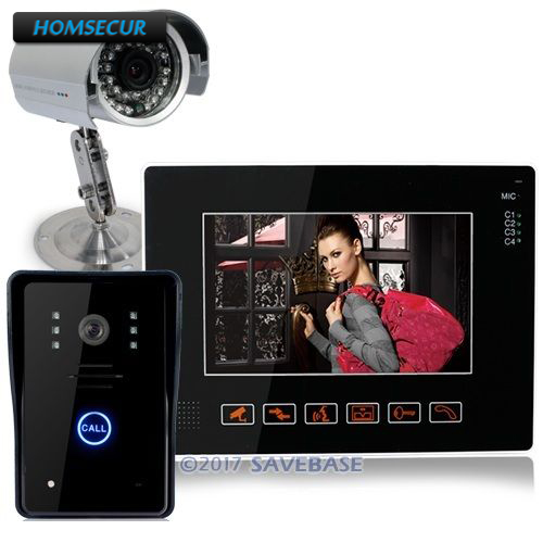 HOMSECUR 9 LCD Touch Key Video Door Phone DoorBell With CCTV Cameras For Home Security