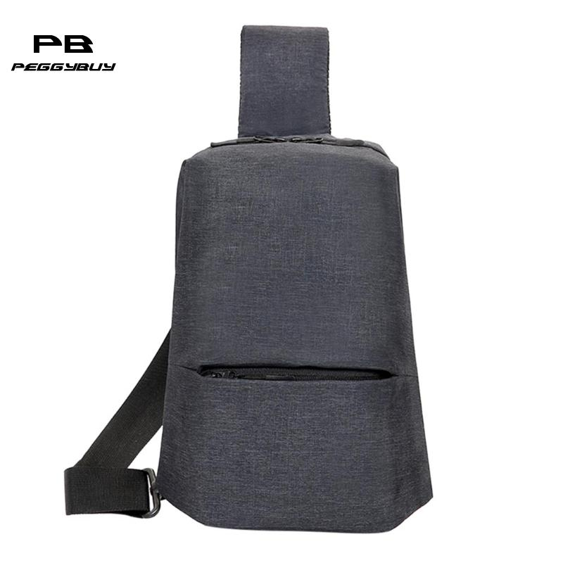 Messenger Bag Men Shoulder Bag Black Casual Functional Men Hidden Chest Pack Anti-Theft Crossbody Bag Cool Motorcycle Sling Bag