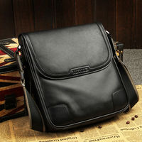 2017 High end Full Grain Genuine Cow Leather Flap Men Bags Black Brown Luxury Retro Business Shoulder & Messenger Bags (XW8669)
