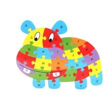 Crianças inteligência brinquedo cognição inglês carta blocos de construção madeira animal jigsaw brinquedos educativos do bebê presentes do miúdo