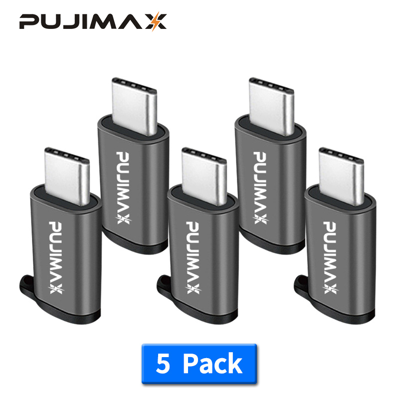 PUJIMAX 5 Pack Adapter Micro USB To Type C  Alloy Case Android USB Connector To Type C For Huawei Xiaomi With Keychain Adaptors