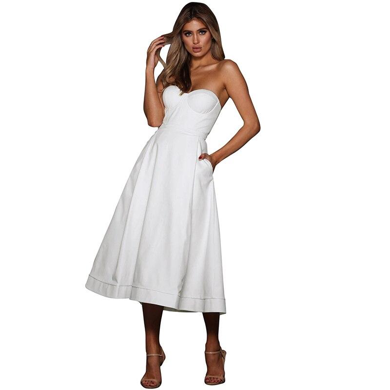 ac2e0ecb8d34 Burgundy Sexy Off Shoulder Mid-Calf Cupped Strapless Elegant Dress 2018 New  Women Summer A