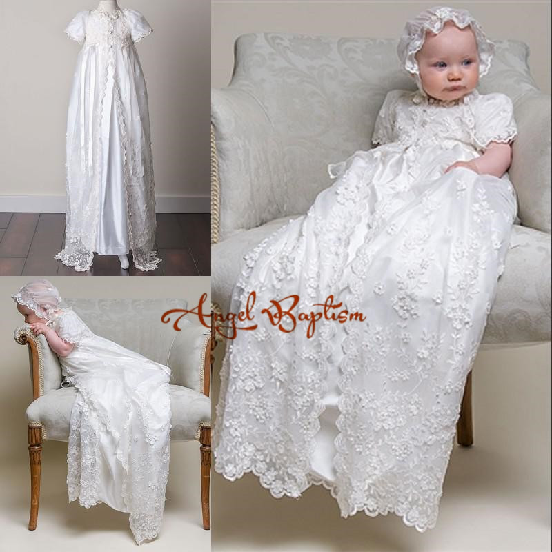 2016 White/Ivory Christening Dresses with Bonnet Lace Appliques Short Sleeves Baby Baptism Robe Gowns For boy girl
