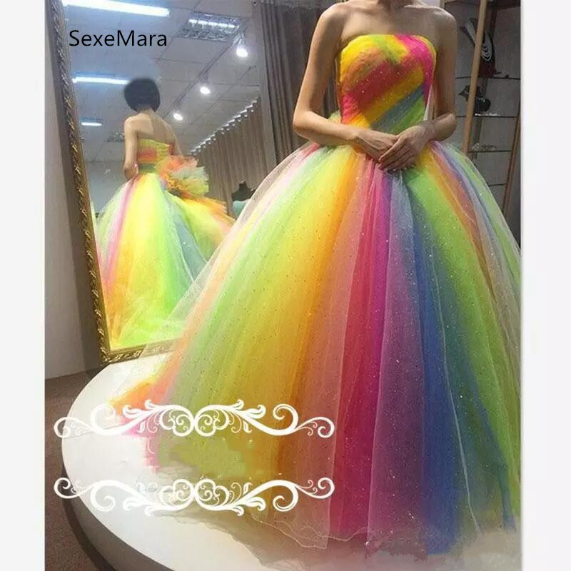 Rainbow Puffy Tulle Crystal   Prom     Dresses   Strapless Ball Gown Evening Gowns Floor Length Plus Size Formal   Dress   Custom Made