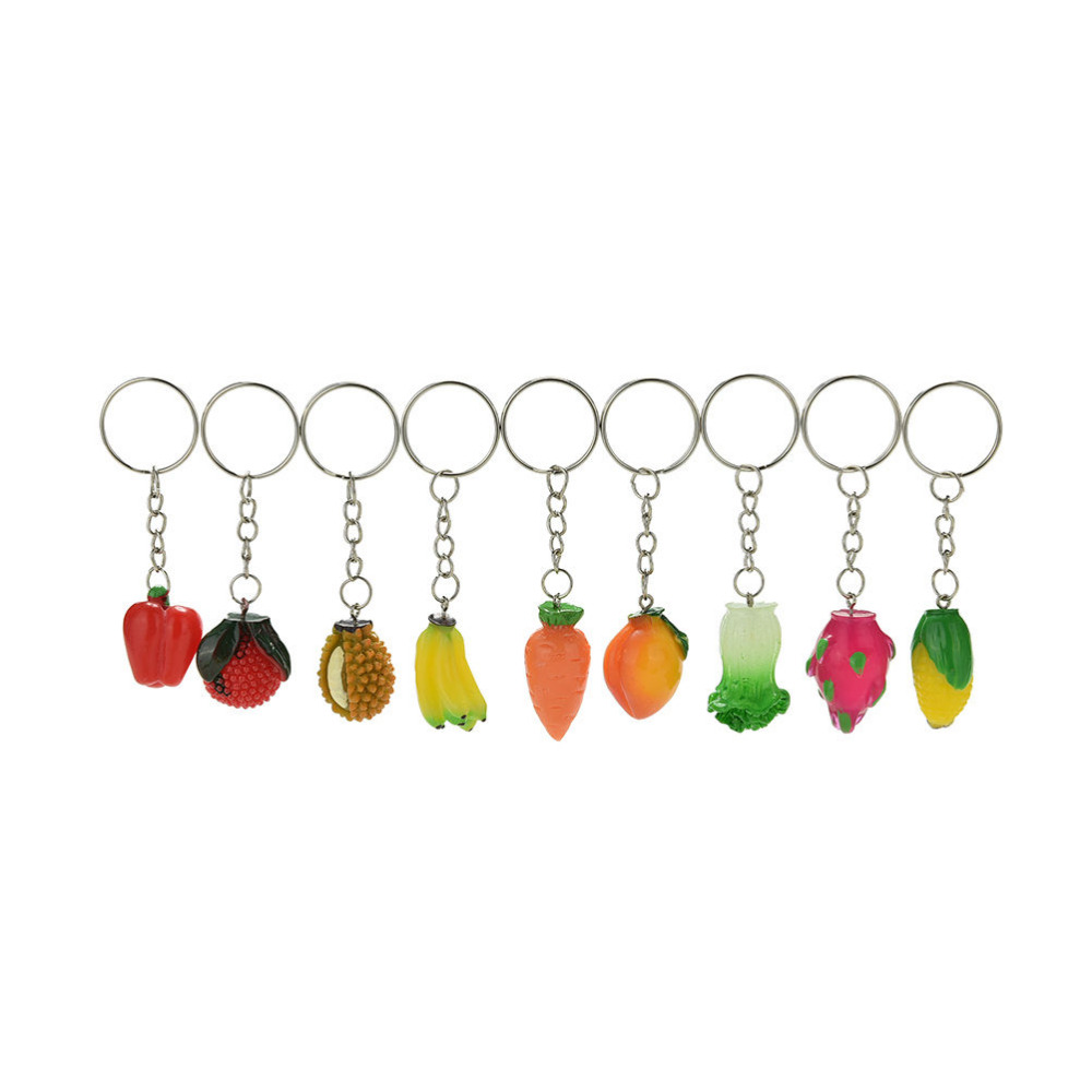 Fruit Vegetables Keychain Key Ring Jewelry 1pcs New Fashion Creative Design Lanyard Keyring Simulation Food Key Chain Desk Sets Durable Service Office & School Supplies
