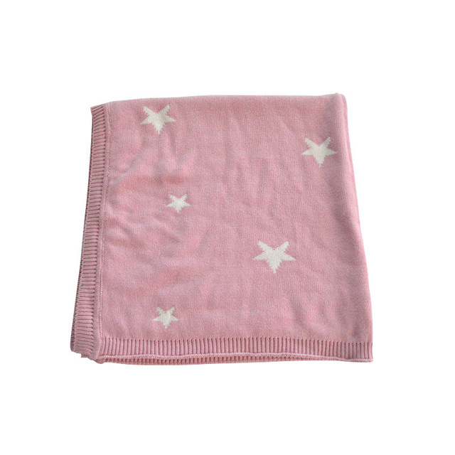 KIDS  90*90cm Children's Star Cotton Knitted Animal Super Soft Blanket Newborn Baby Blanket Swaddling