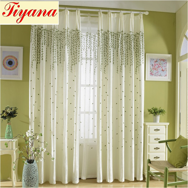 Luxury Embroidered BLACKOUT Curtain Sheer Curtain Voile Tulle Home Textile  Willow Tree Cotton Linen For Living