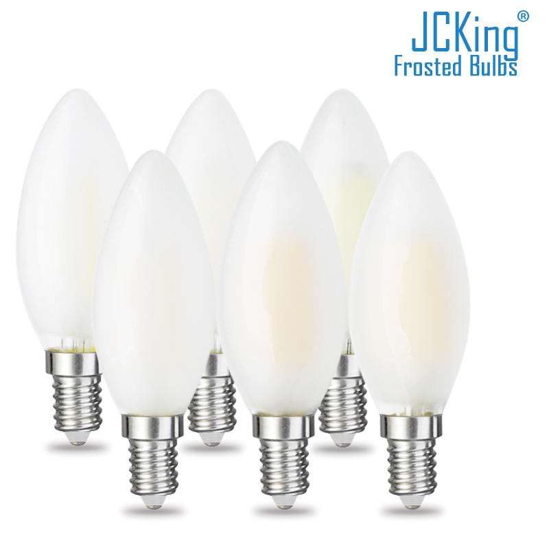 JCKing Dimmable 2W 4W 6W Led Candle E14 E12 Vintage Retro Dimming Frosted 110V 220V Filament Bulbs Lamp For Chandelier Lighting
