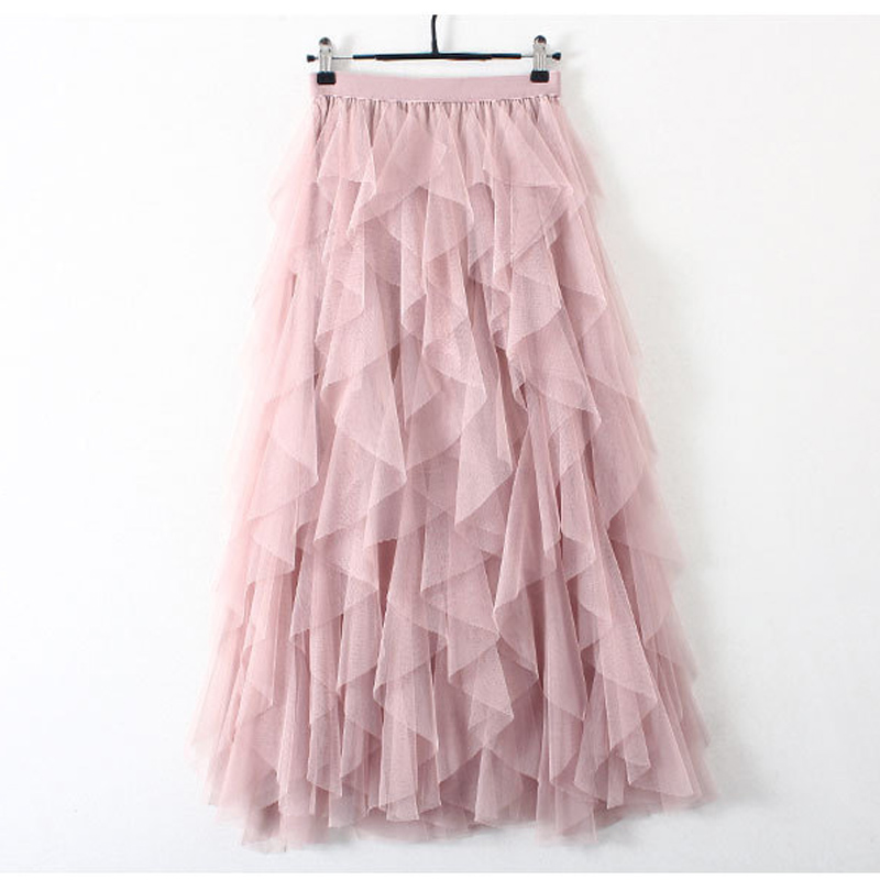 2019 Korean Fashion Tutu Tulle Skirt Women Long Maxi Skirt Spring Summer Autumn Black Pink Grey High Waist Pleated Skirt Female
