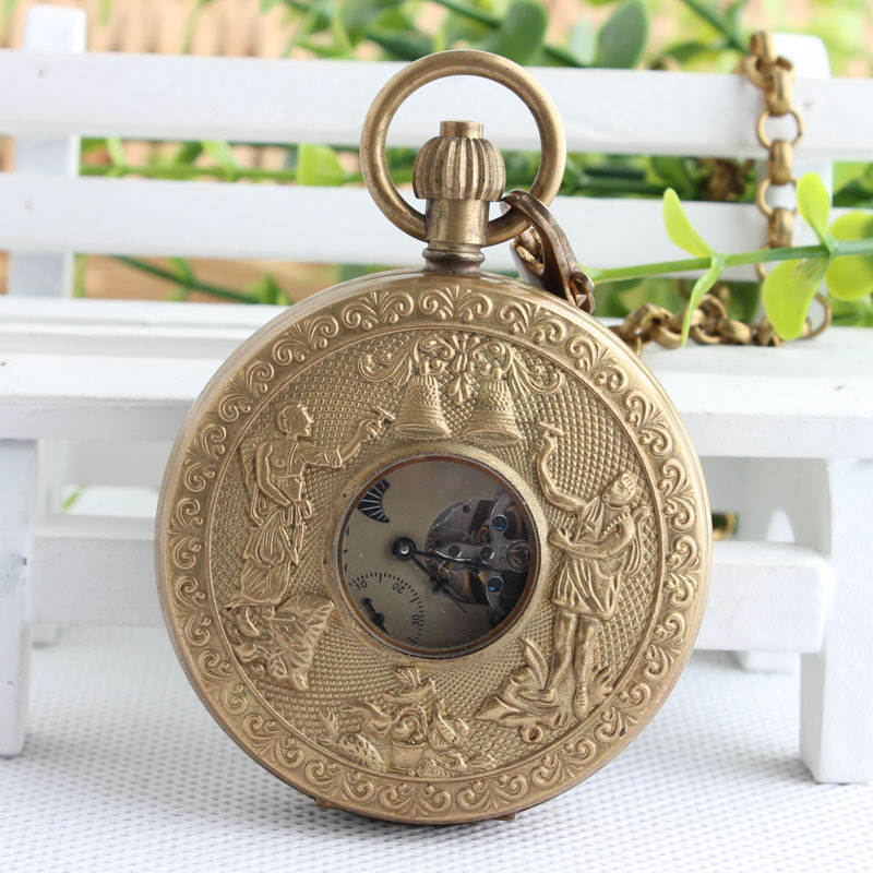 NY Bronze Retro Double Open Mechanical Pocket Watch European Holiday Double Copper Bell Moon Antique Gift 3JX300 old antique bronze doctor who theme quartz pendant pocket watch with chain necklace free shipping