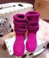 Moda invierno mujeres de lana plataforma plana botas de nieve marca Australia diseñador de lujo genuino femeninos de cuero botas alta calidad