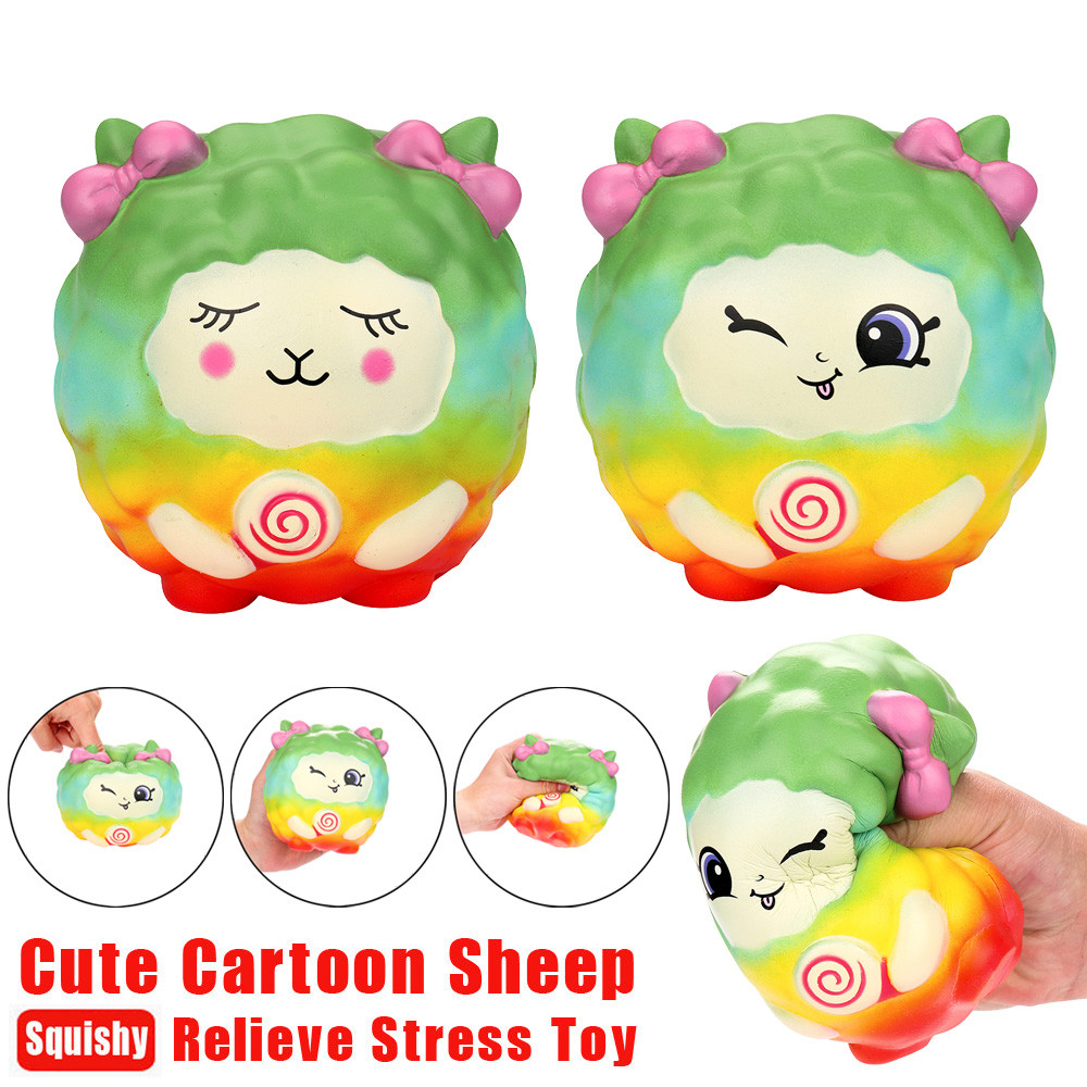 Squishy Stress Relief 12cm Cartoon Kawaii Sheep Squishy Slow Rising Scented Squeeze Toy Collection Cure Gift W517