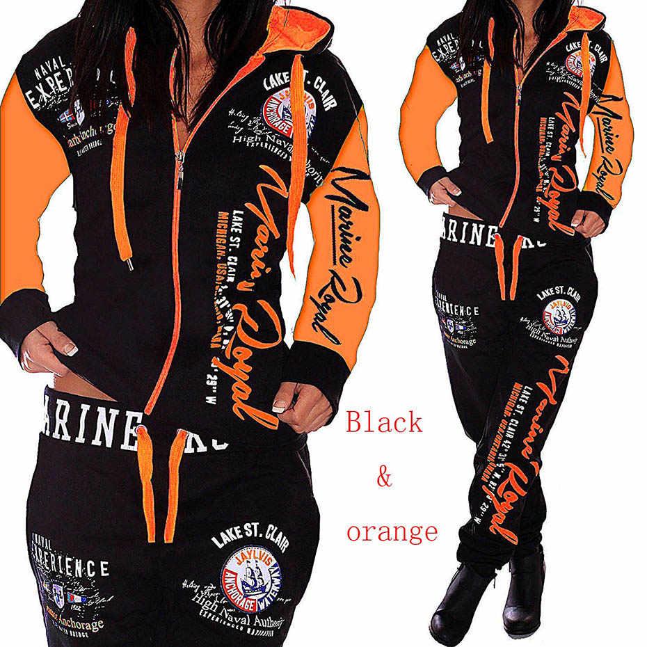ZOGAA Женский комплект из 2 предметов, женские костюмы с буквенным принтом, повседневная спортивная одежда, комплект из двух предметов, топы и штаны, спортивный костюм для женщин 2019