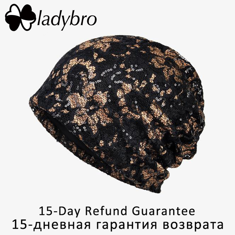a010a1d960b Ladybro Shining Beanies Women Hat Sequin Printing Cotton Hat Skullies  Beanie Bonnet Hat Autumn Flower Hat Femlae Gorros Femme