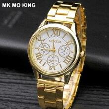 aa9bac2fc760f 2019 الجديدة النساء اللباس الساعات الذهب الفولاذ المقاوم للصدأ العلامة  التجارية الجديدة أزياء السيدات ساعة اليد الإبداعية الكوار.