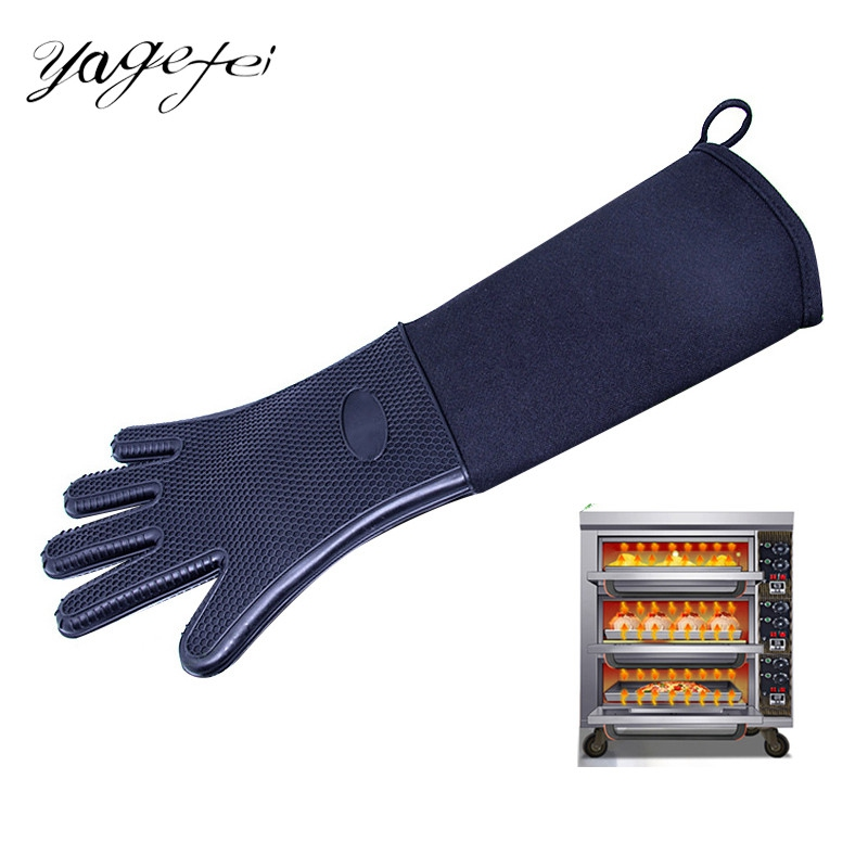 1 piece Heat Resistant Oven Mitts Kitchen Baking Cooking Gloves Extra Long Canvas Stitching BBQ Oven Gloves Solid Color